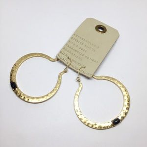 NWT Anthropologie Black Stone Hoop Earrings